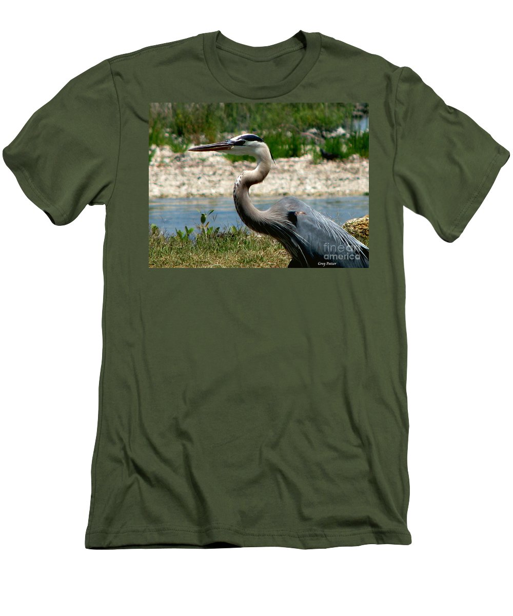 Art For The Wall...patzer Photography Men's T-Shirt (Athletic Fit) featuring the photograph Blue Heron by Greg Patzer