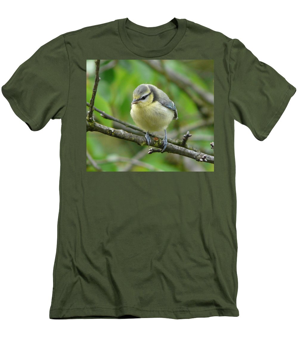 Bird Men's T-Shirt (Athletic Fit) featuring the photograph Blue Tit In A Cherry Tree by Valerie Ornstein