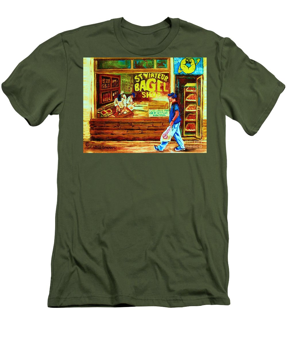 St.viateur Bagel Men's T-Shirt (Athletic Fit) featuring the painting Boy With The Steinbergs Bag by Carole Spandau