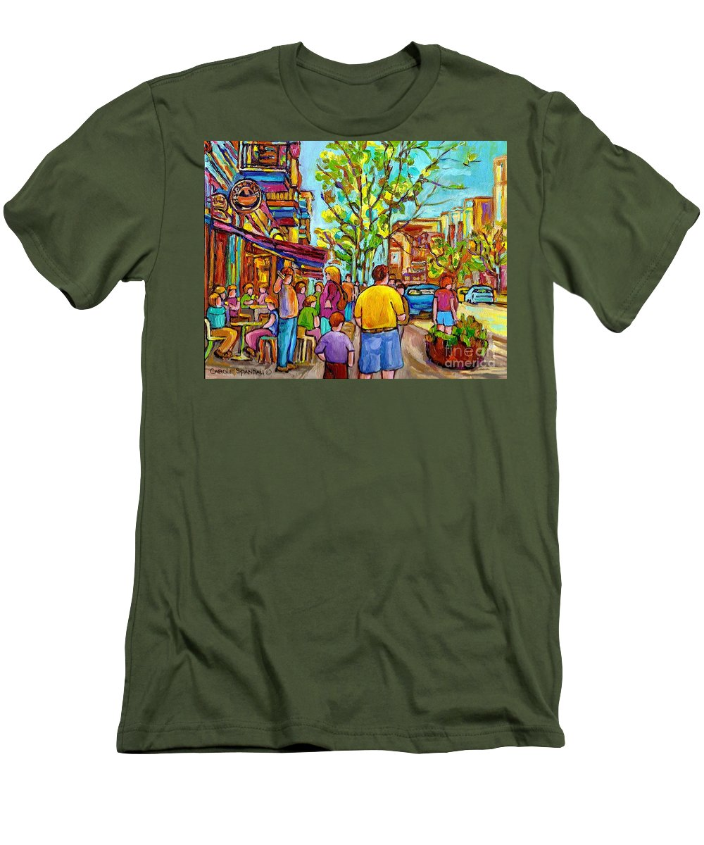 Montreal Streetscene Men's T-Shirt (Athletic Fit) featuring the painting Cafes In Springtime by Carole Spandau