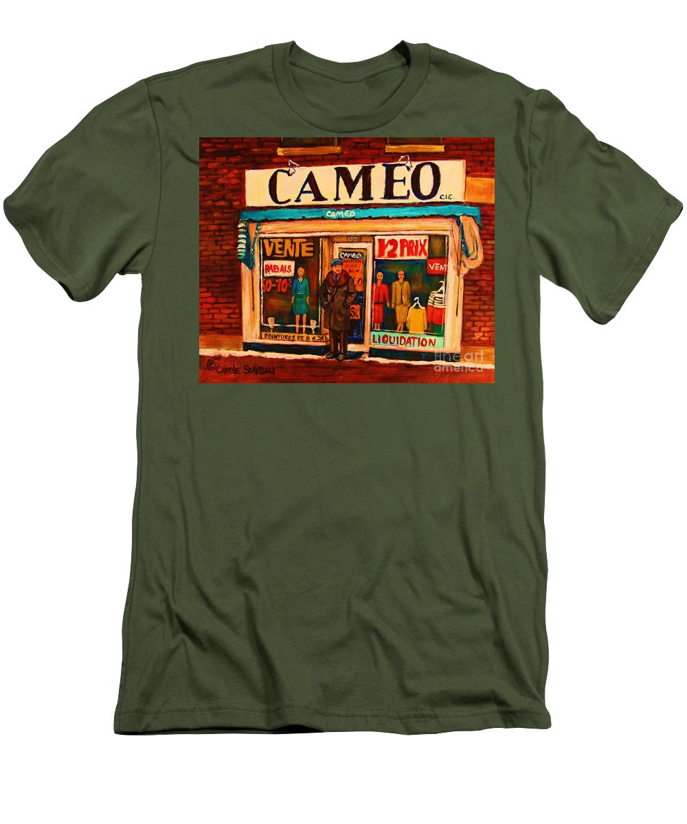 Cameo Dress Shop Men's T-Shirt (Athletic Fit) featuring the painting Cameo Dress Shop by Carole Spandau