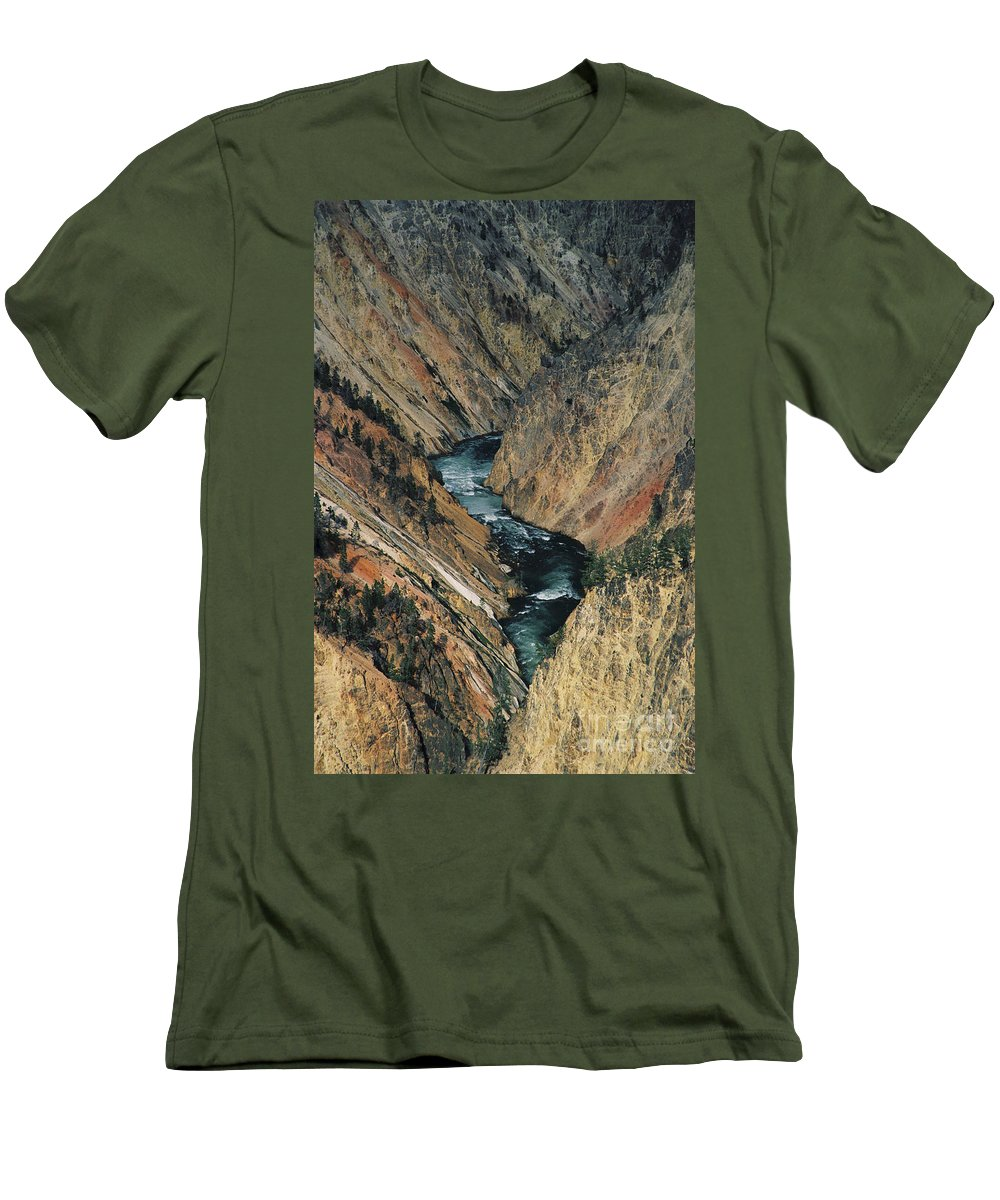Yellowstone Men's T-Shirt (Athletic Fit) featuring the photograph Canyon Jewel by Kathy McClure