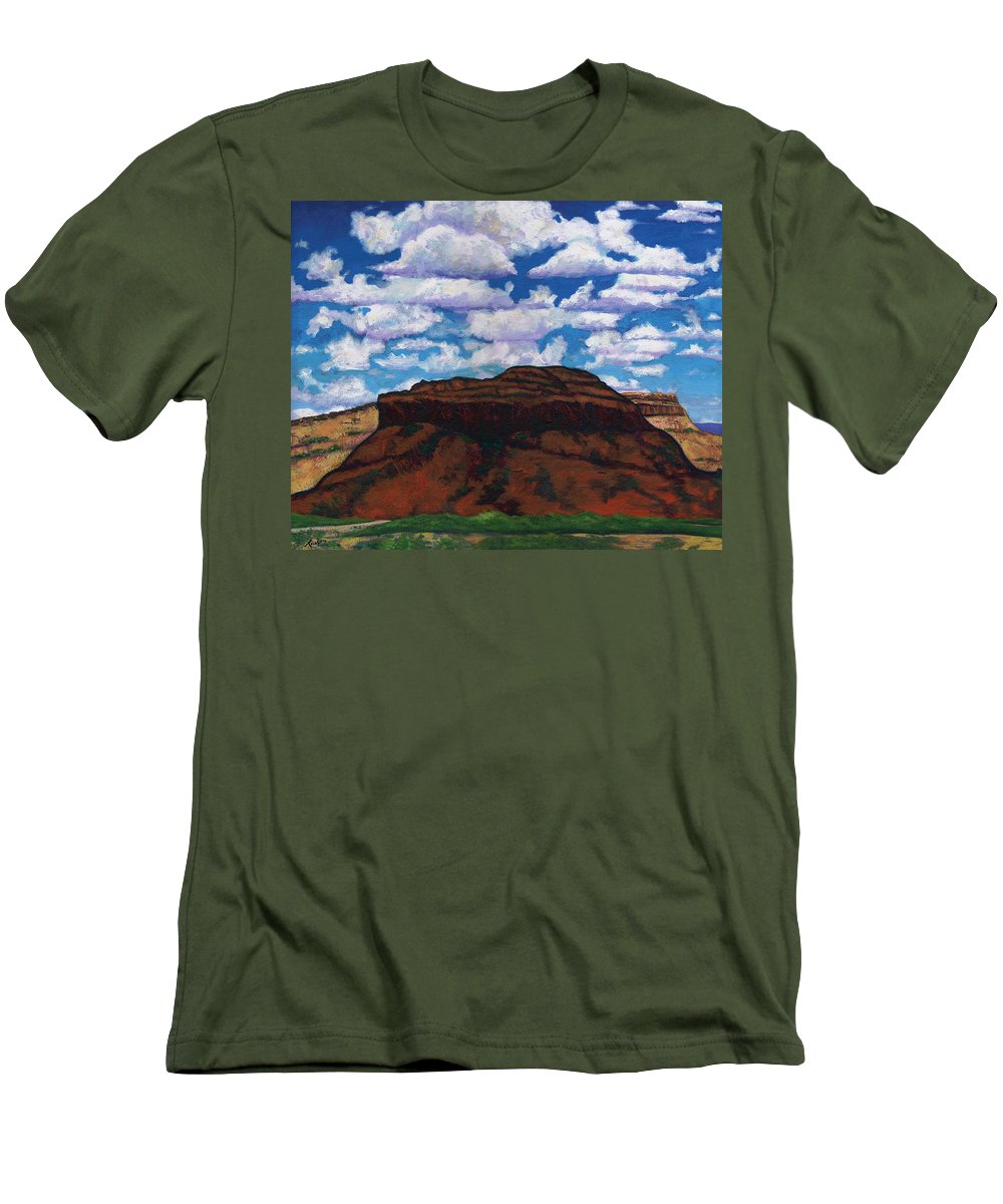 Lanscape Men's T-Shirt (Athletic Fit) featuring the painting Clouds Over Red Mesa by Joe Triano
