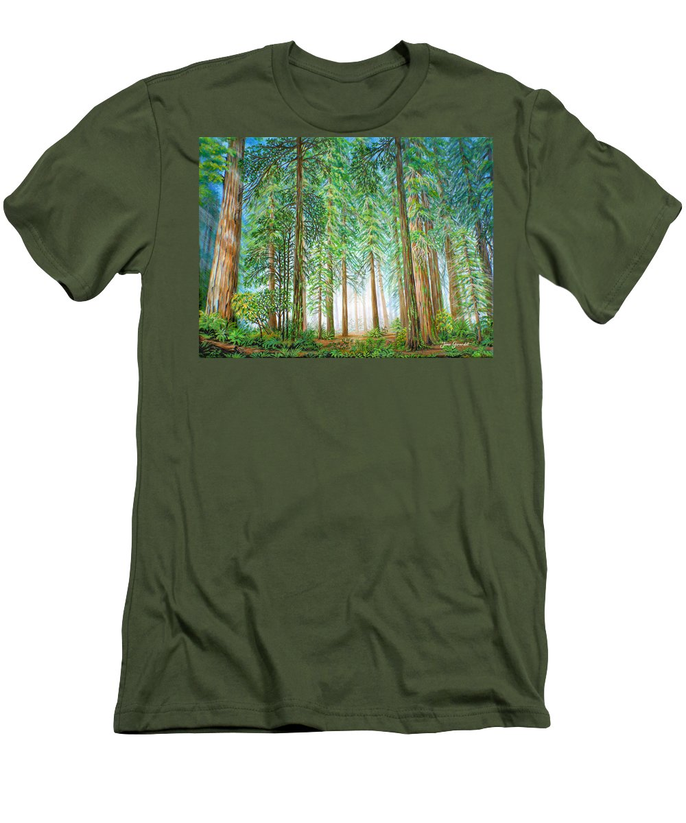 Trees Men's T-Shirt (Athletic Fit) featuring the painting Coastal Redwoods by Jane Girardot