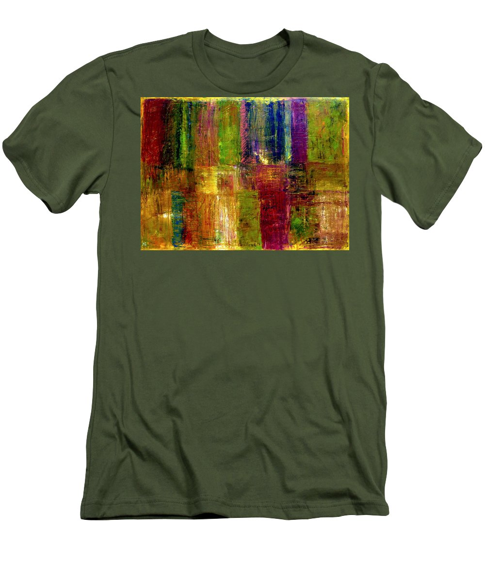 Abstract Men's T-Shirt (Athletic Fit) featuring the painting Color Panel Abstract by Michelle Calkins
