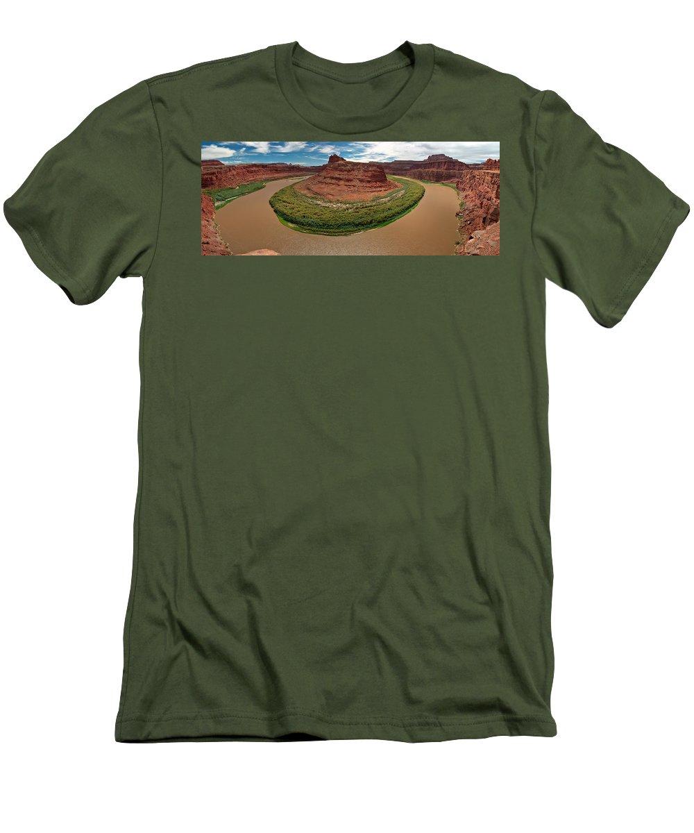 3scape Photos Men's T-Shirt (Athletic Fit) featuring the photograph Colorado River Gooseneck by Adam Romanowicz