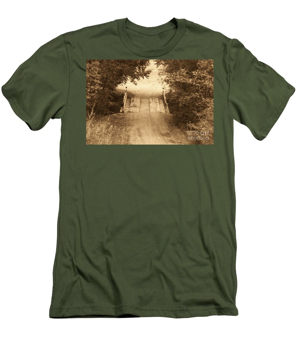 Bridge Men's T-Shirt (Athletic Fit) featuring the photograph Country Bridge by Brandi Maher