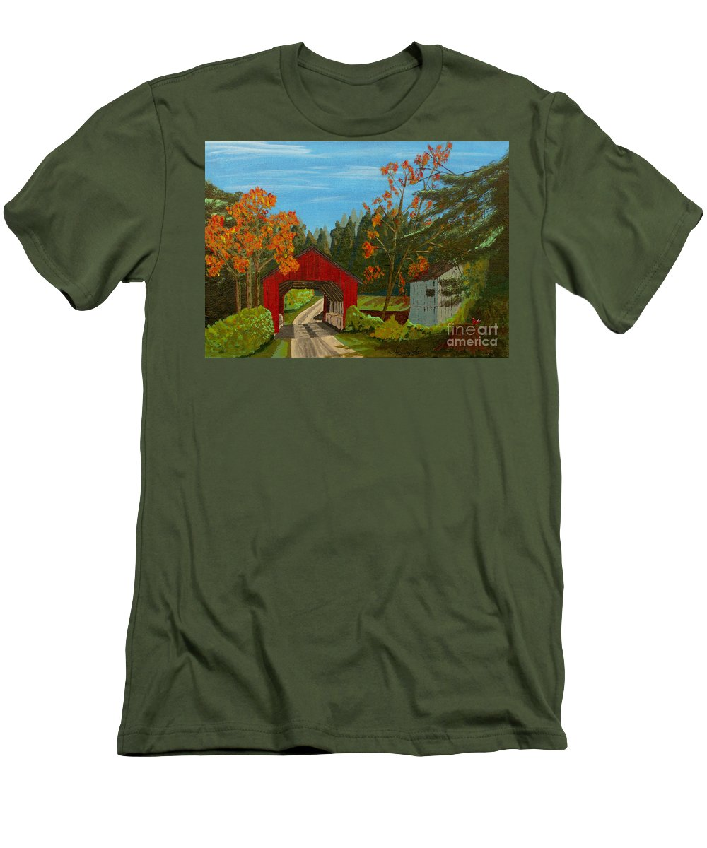 Path Men's T-Shirt (Athletic Fit) featuring the painting Covered Bridge by Anthony Dunphy