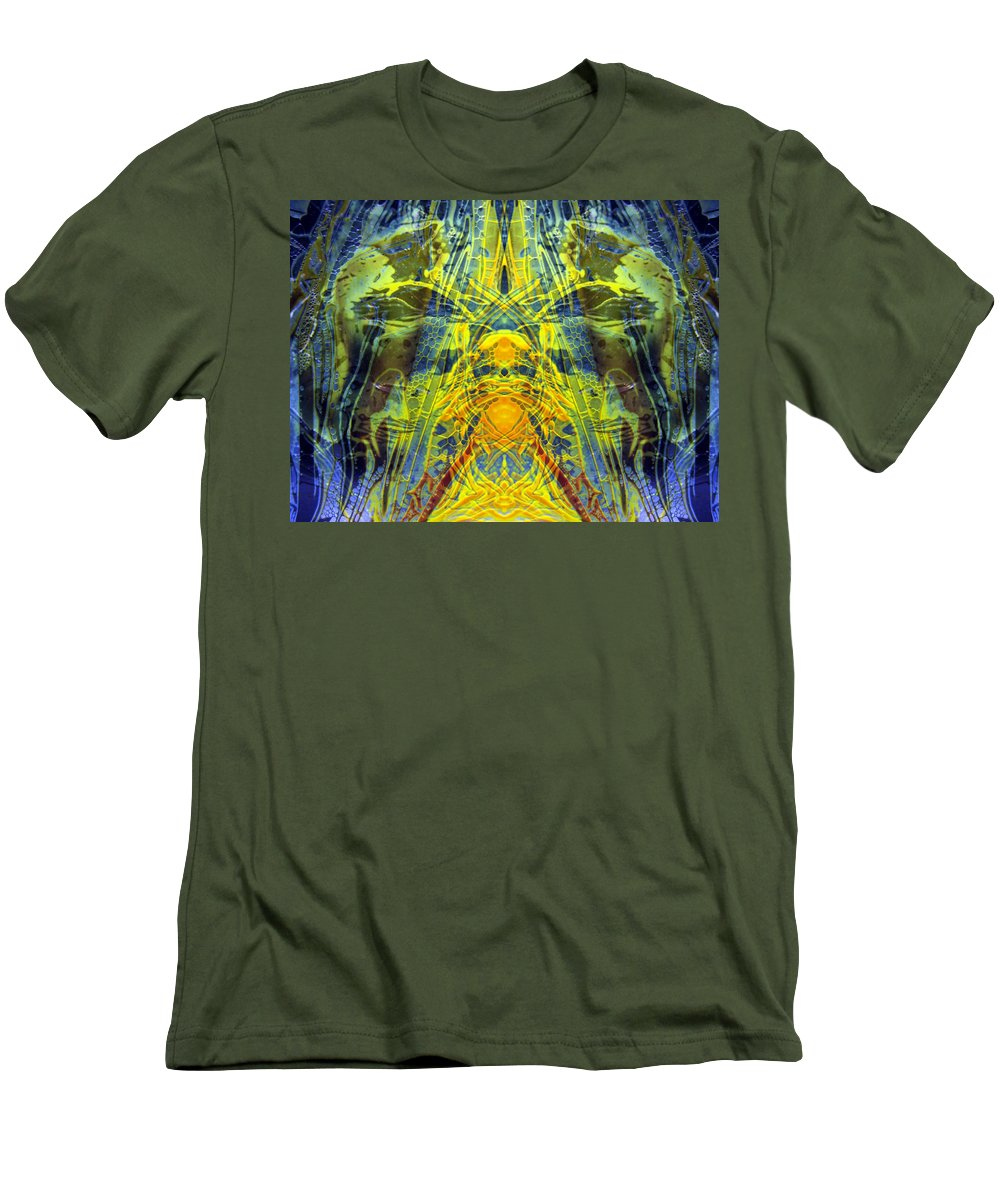 Surrealism Men's T-Shirt (Athletic Fit) featuring the digital art Decalcomaniac Intersection 1 by Otto Rapp