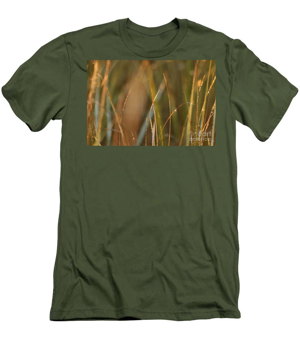 Dew Men's T-Shirt (Athletic Fit) featuring the photograph Dewy Grasses by Nadine Rippelmeyer