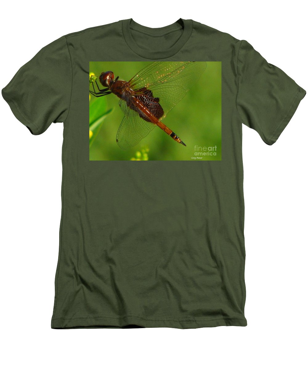 Art For The Wall...patzer Photographydragonfly Men's T-Shirt (Athletic Fit) featuring the photograph Dragonfly Art 2 by Greg Patzer
