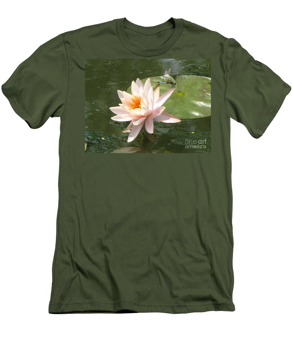 Dragon Fly Men's T-Shirt (Athletic Fit) featuring the photograph Dragonfly Landing by Amanda Barcon