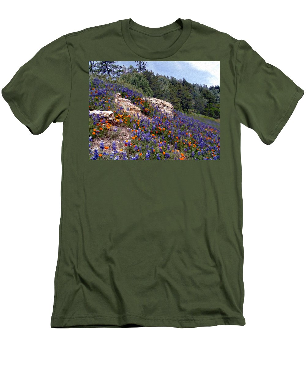 Flowers Men's T-Shirt (Athletic Fit) featuring the photograph Figueroa Mountain Splendor by Kurt Van Wagner
