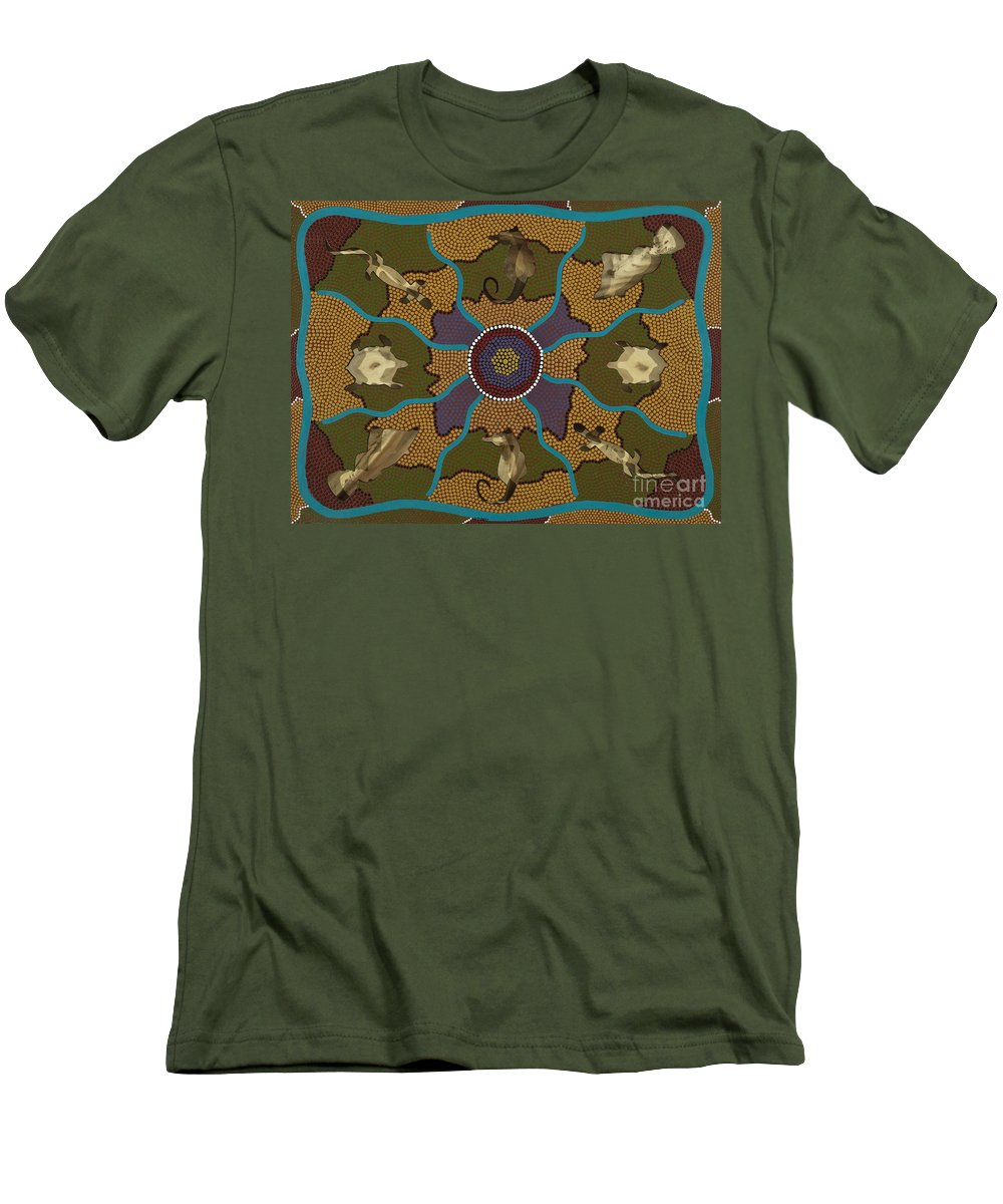 Aboriginal Men's T-Shirt (Athletic Fit) featuring the painting Flow Of Life by Clifford Madsen