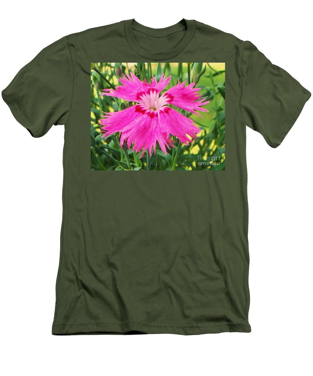Flower Men's T-Shirt (Athletic Fit) featuring the photograph Flower Pink by Eric Schiabor