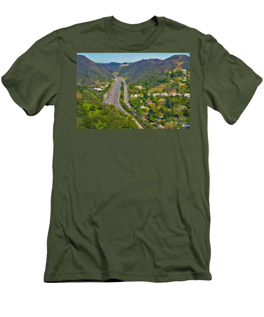 L-405 Sepulveda Pass Traffic Bel Air Crest California Men's T-Shirt (Athletic Fit) featuring the photograph Freeway Sepulveda Pass Traffic Bel Air Crest California by David Zanzinger