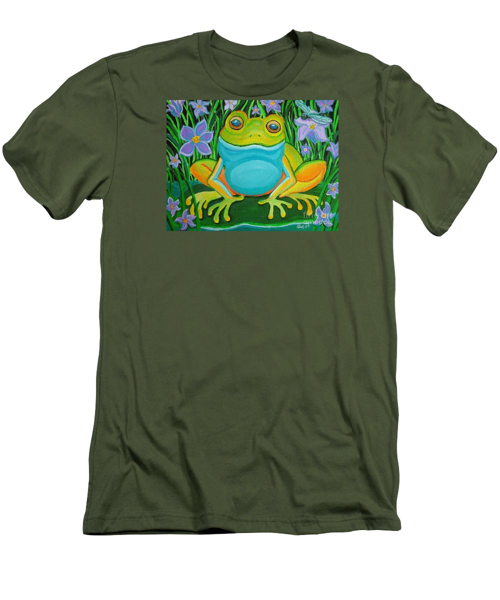 Ffrog Art Men's T-Shirt (Athletic Fit) featuring the painting Frog On A Lily Pad by Nick Gustafson