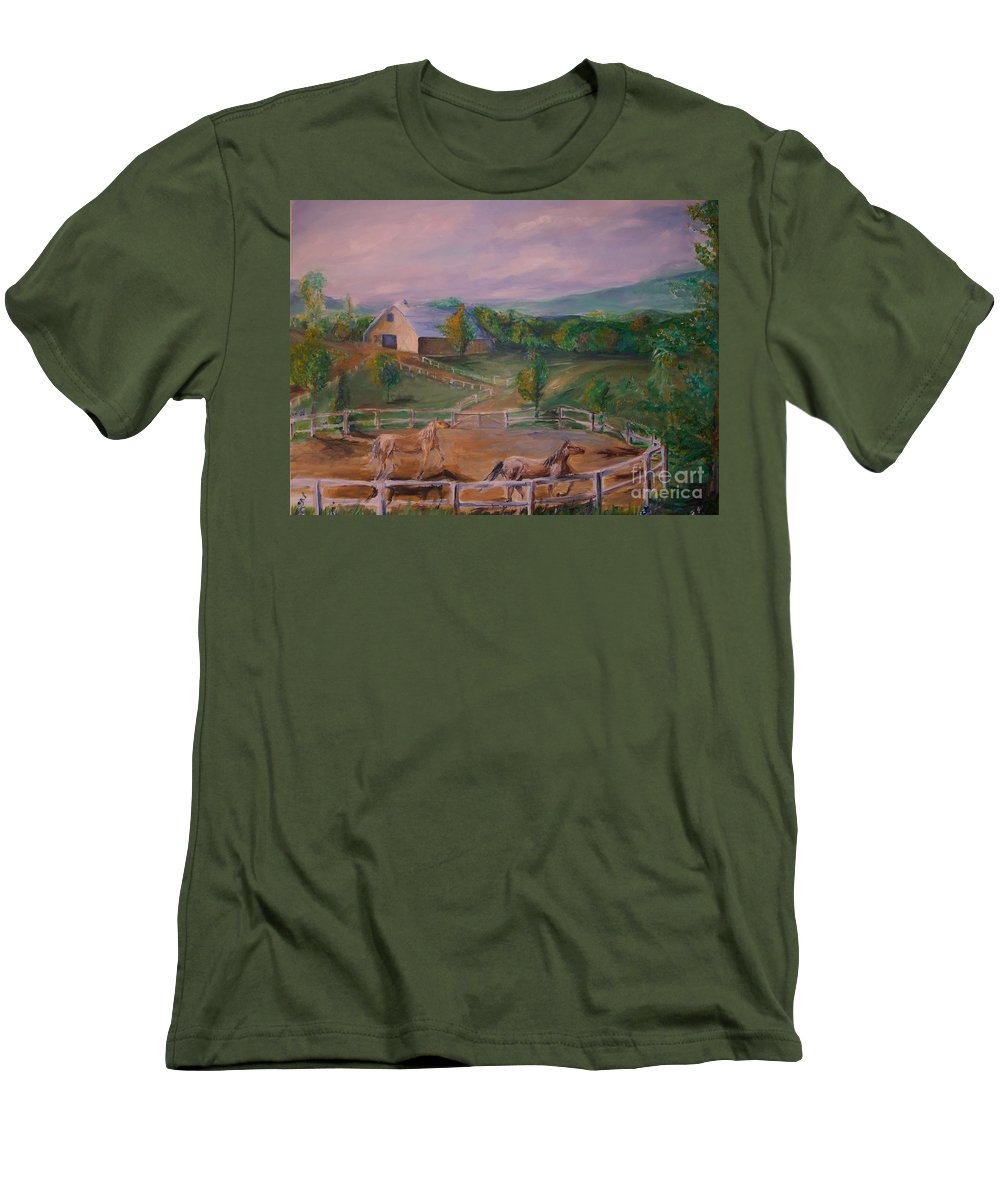 Pennsylvania Men's T-Shirt (Athletic Fit) featuring the painting Gettysburg Farm by Eric Schiabor