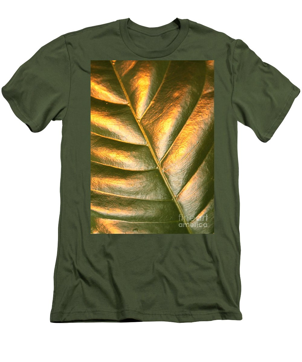 Gold Men's T-Shirt (Athletic Fit) featuring the photograph Golden Leaf 2 by Carol Groenen