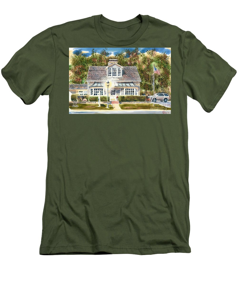 Greystone Inn Ii Men's T-Shirt (Athletic Fit) featuring the painting Greystone Inn II by Kip DeVore