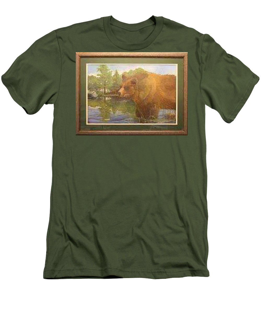 Rick Huotari Men's T-Shirt (Athletic Fit) featuring the painting Grizzly by Rick Huotari