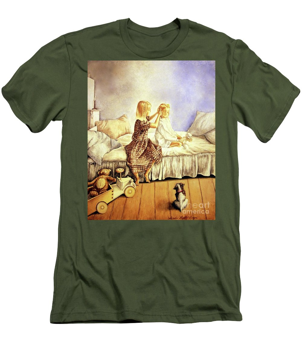 Animals Men's T-Shirt (Athletic Fit) featuring the painting Hands Of Devotion - Childhood by Linda Simon