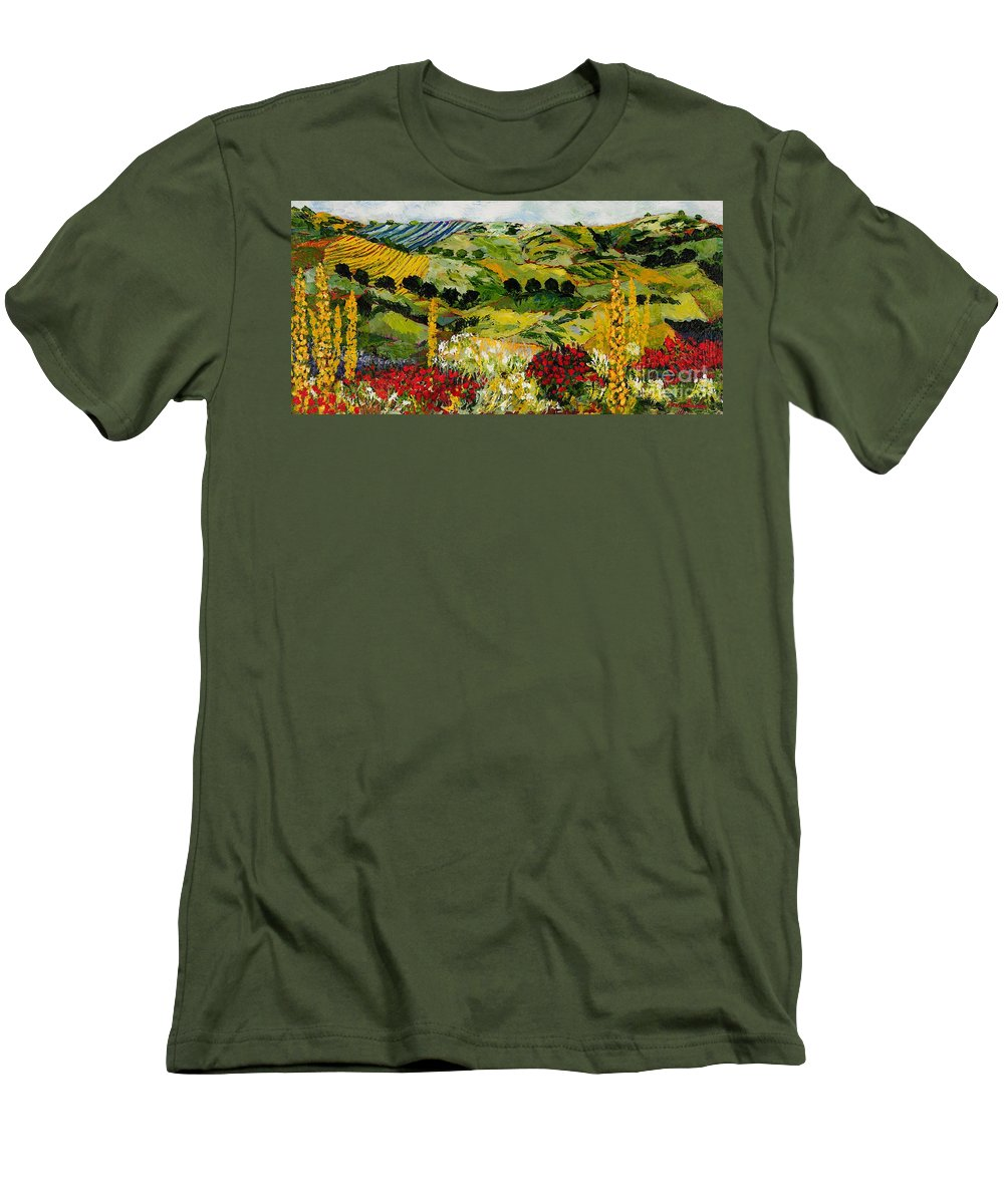 Landscape Men's T-Shirt (Athletic Fit) featuring the painting Heavenly View by Allan P Friedlander