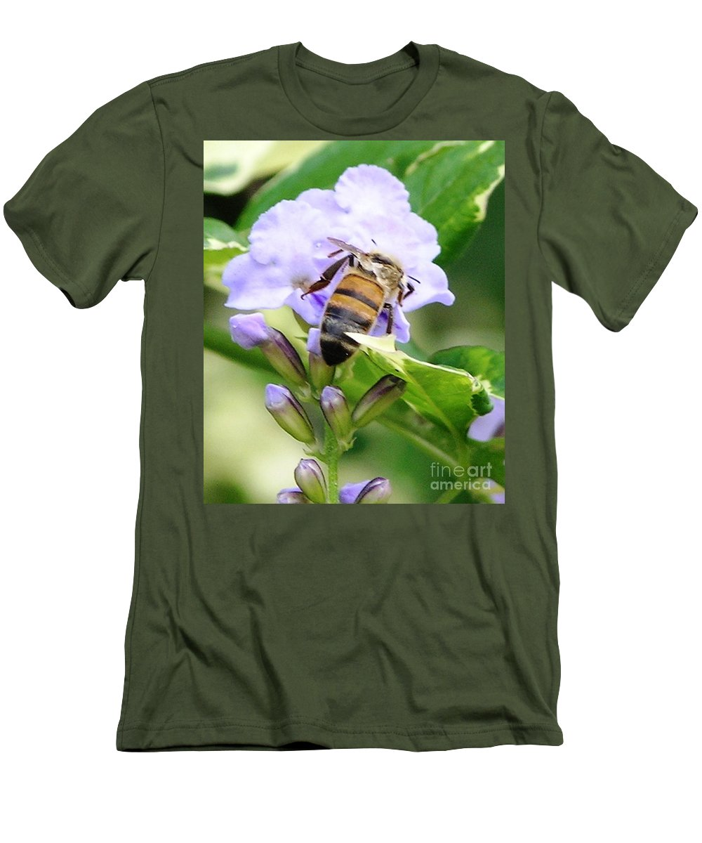 Purple Flower Men's T-Shirt (Athletic Fit) featuring the photograph Honey Bee On Lavender Flower by Mary Deal
