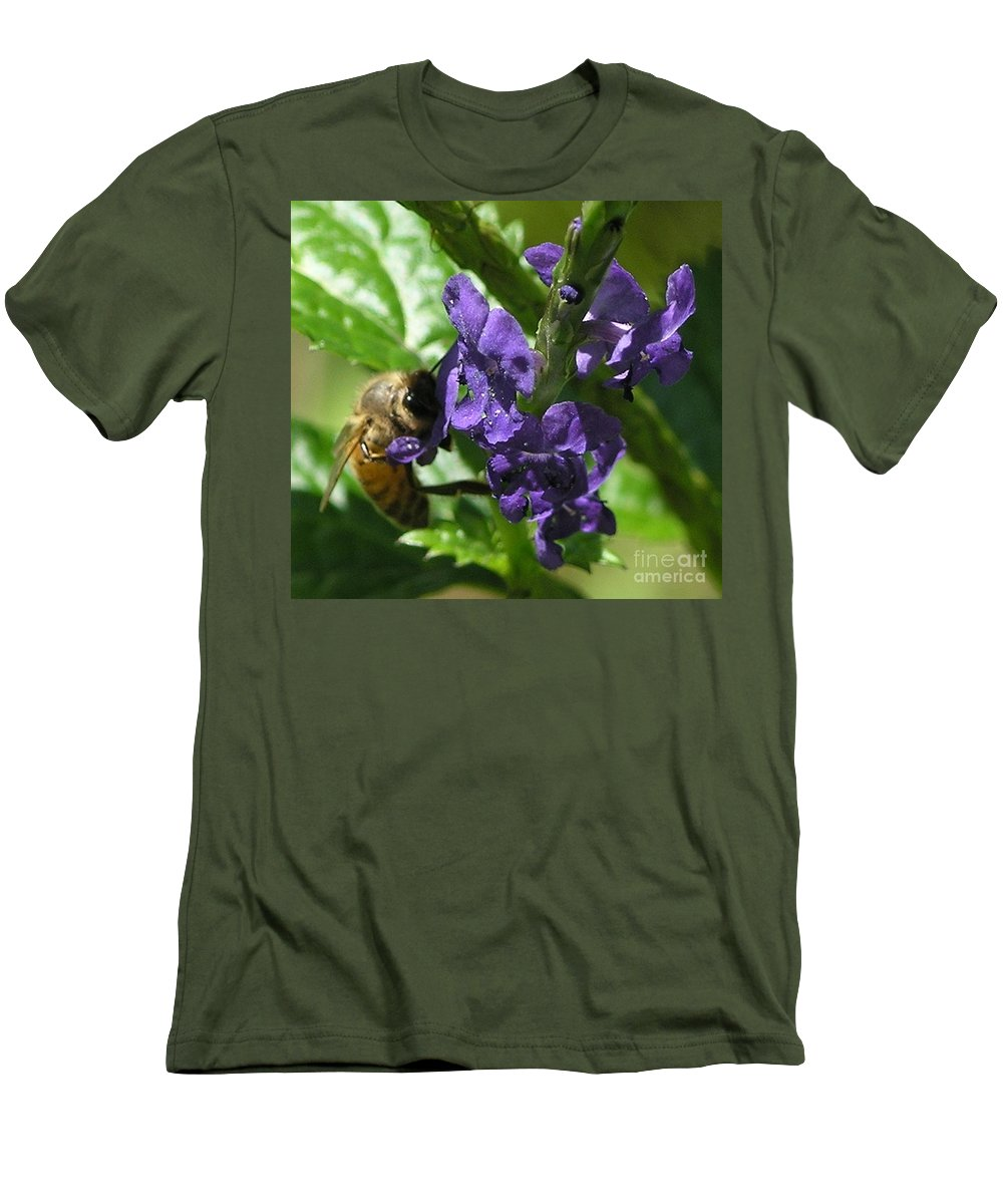 Purple Men's T-Shirt (Athletic Fit) featuring the photograph Honey Bee On Purple Flower by Mary Deal