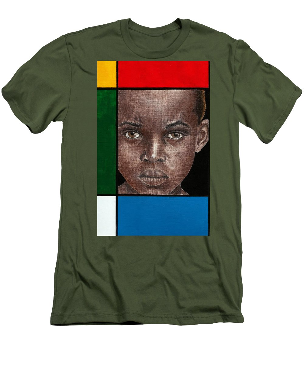 African American Artwork Men's T-Shirt (Athletic Fit) featuring the mixed media Intense by Edith Peterson-Watson