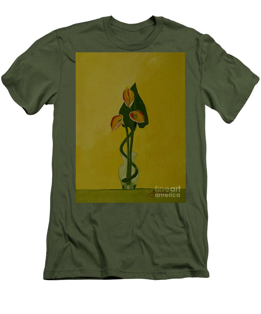 Japan Men's T-Shirt (Athletic Fit) featuring the painting Japanese Ikebana Arrangement by Anthony Dunphy