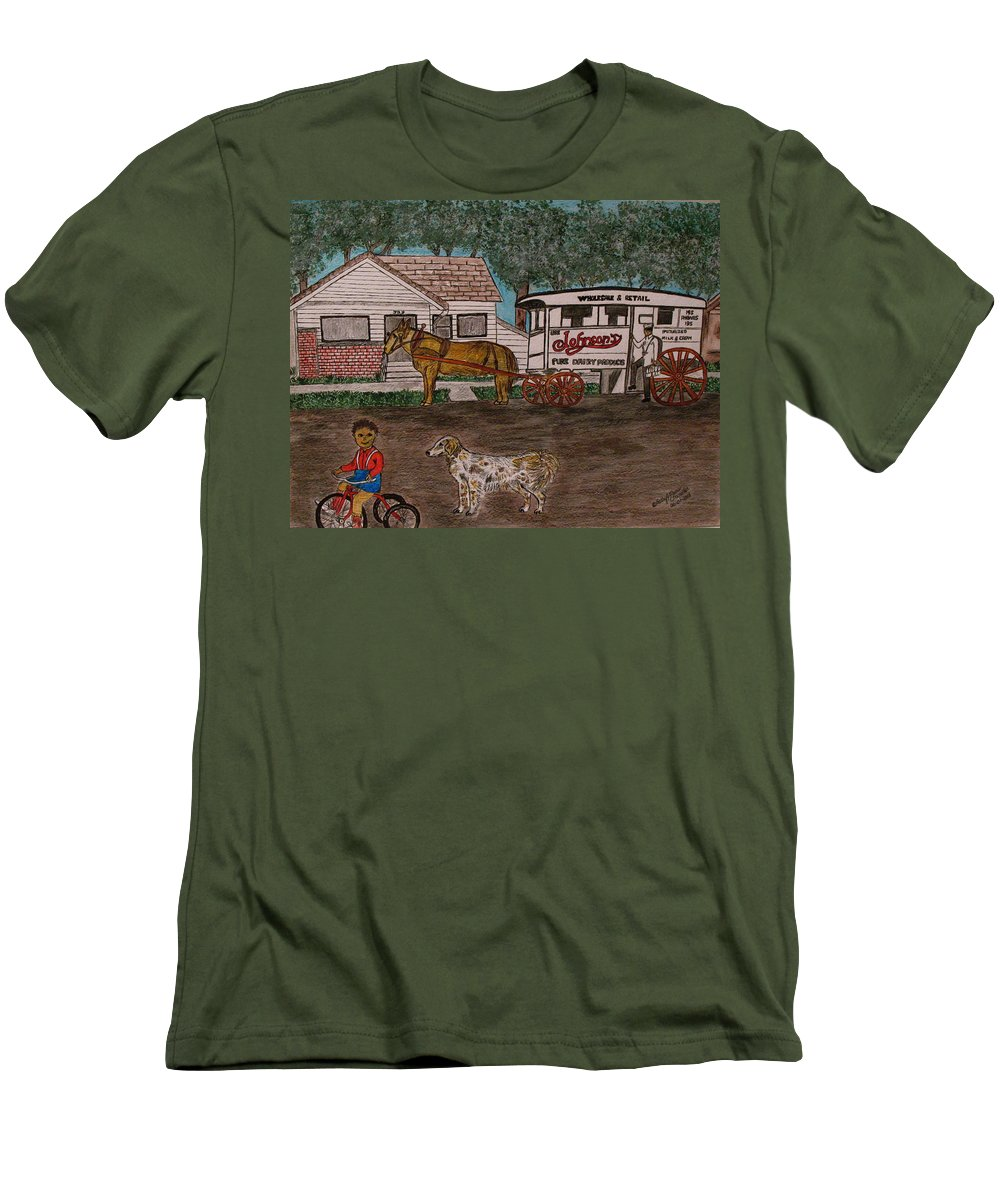 Johnson Creamery Men's T-Shirt (Athletic Fit) featuring the painting Johnsons Milk Wagon Pulled By A Horse by Kathy Marrs Chandler