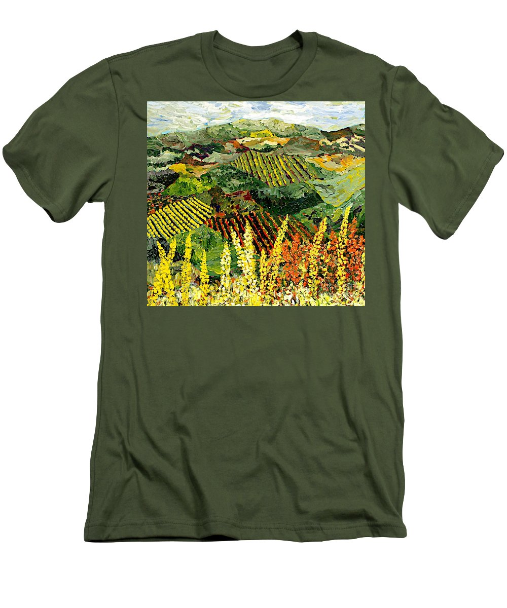 Landscape Men's T-Shirt (Athletic Fit) featuring the painting Just A Little Valley by Allan P Friedlander