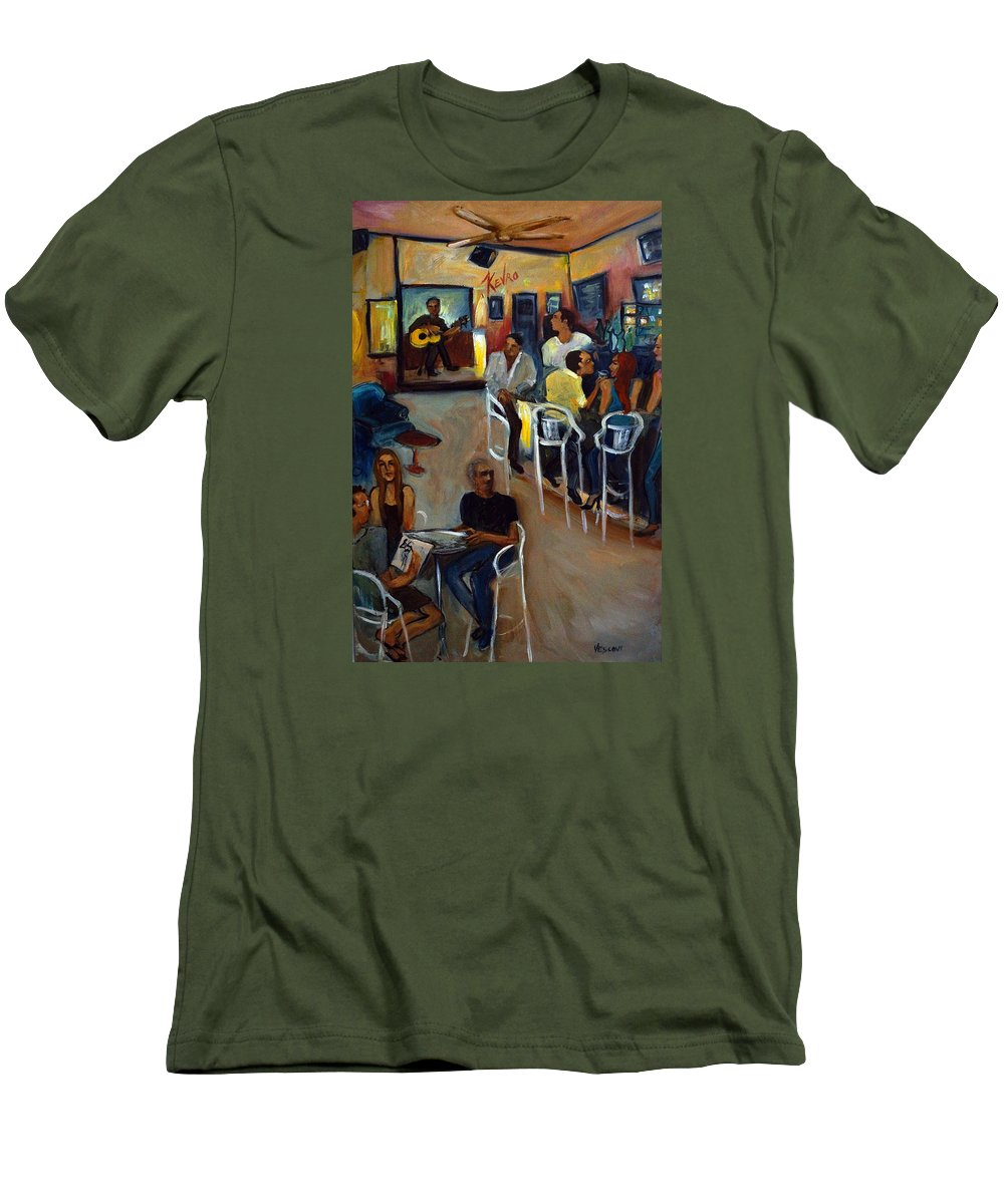 Art Bar Men's T-Shirt (Athletic Fit) featuring the painting Kevro's Art Bar by Valerie Vescovi
