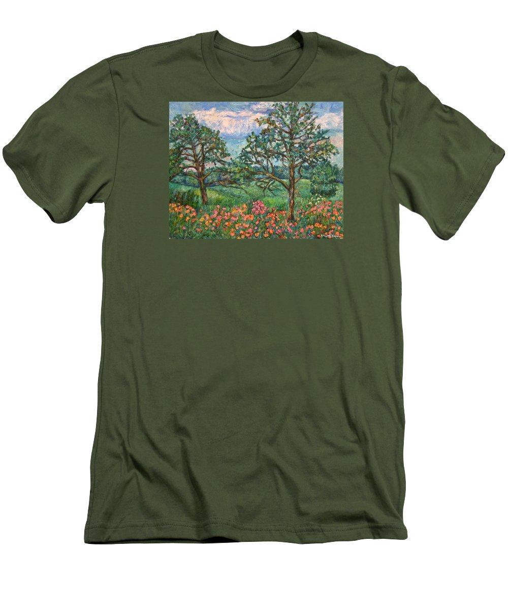 Landscape Men's T-Shirt (Athletic Fit) featuring the painting Kraft Avenue In Blacksburg by Kendall Kessler