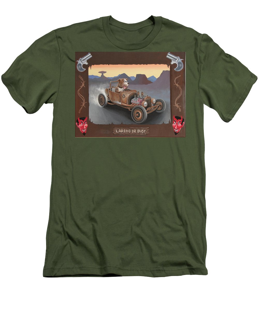 Rat Rod Men's T-Shirt (Athletic Fit) featuring the painting Laredo Or Bust by Stuart Swartz