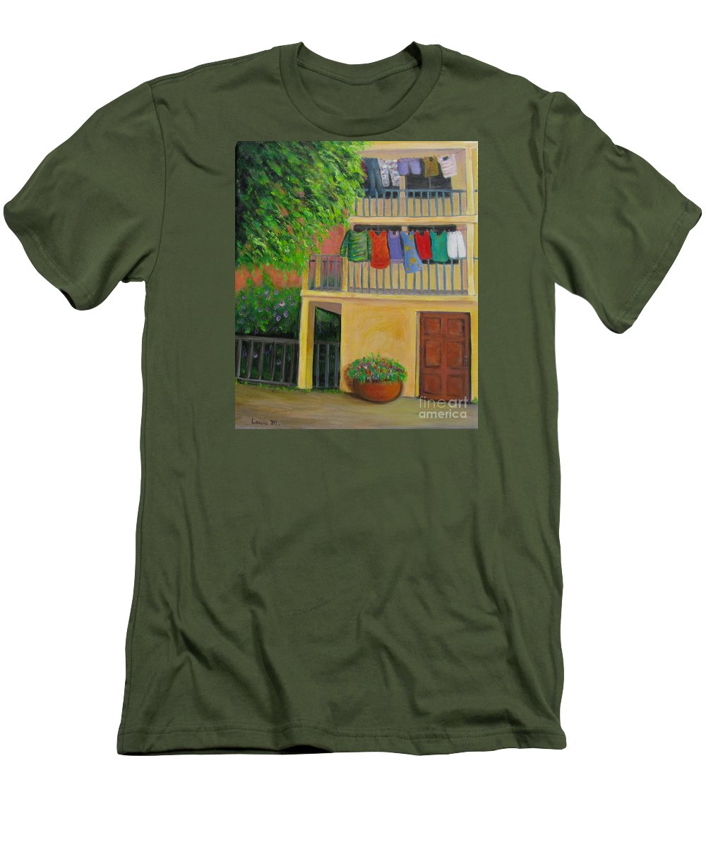 Laundry Men's T-Shirt (Athletic Fit) featuring the painting Laundry Day by Laurie Morgan