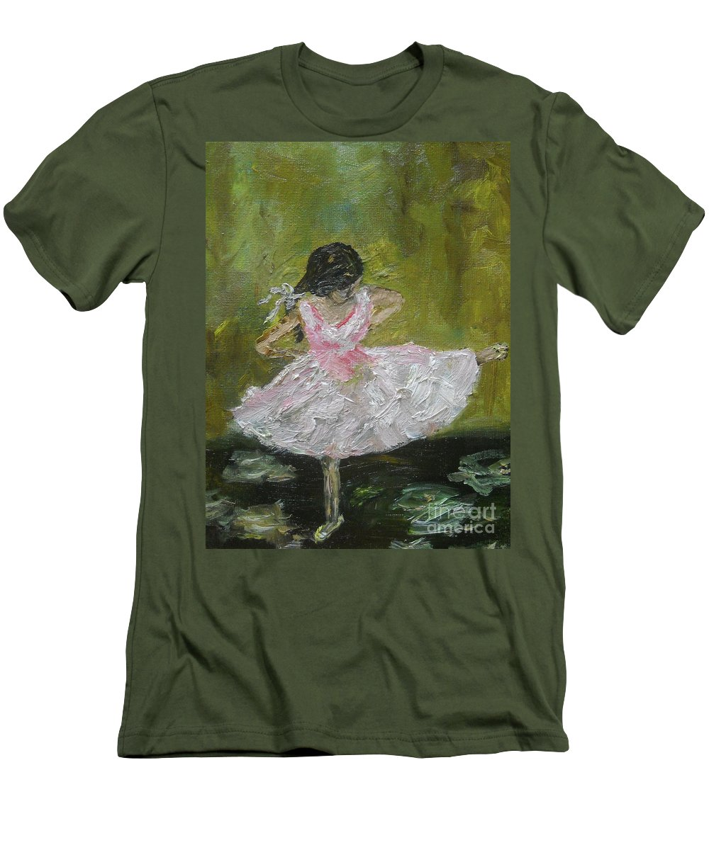 Girl Men's T-Shirt (Athletic Fit) featuring the painting Little Dansarina by Reina Resto