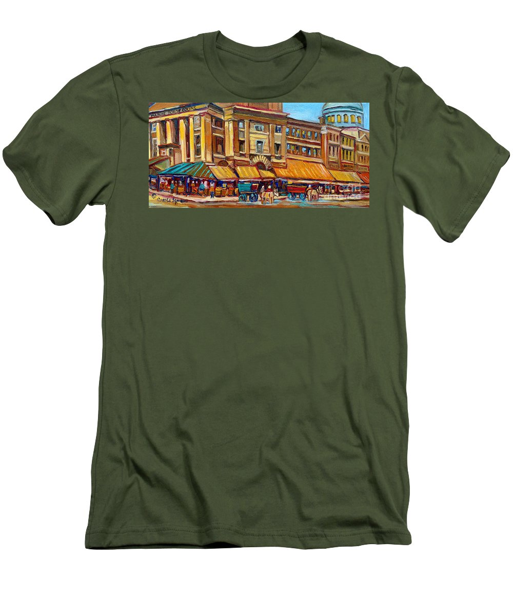 Montreal Art Men's T-Shirt (Athletic Fit) featuring the painting Marche Bonsecours Old Montreal by Carole Spandau