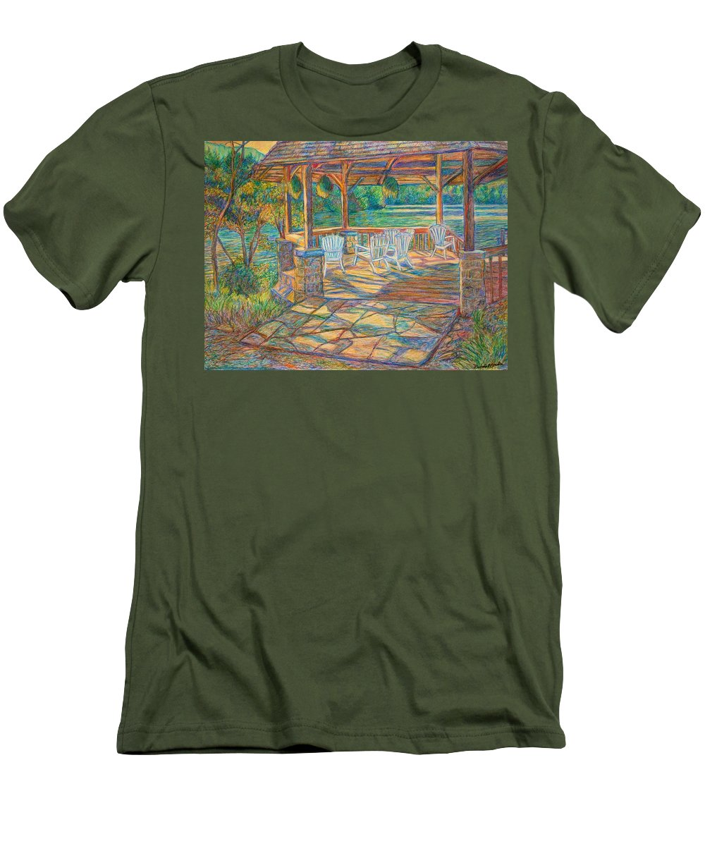 Lake Men's T-Shirt (Athletic Fit) featuring the painting Mountain Lake Shadows by Kendall Kessler