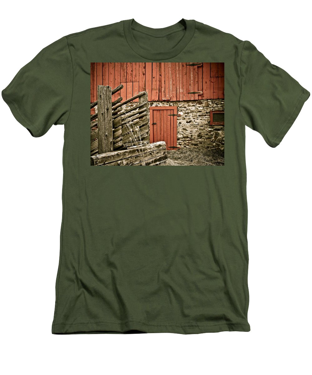 Old Men's T-Shirt (Athletic Fit) featuring the photograph Old Wood by Marilyn Hunt