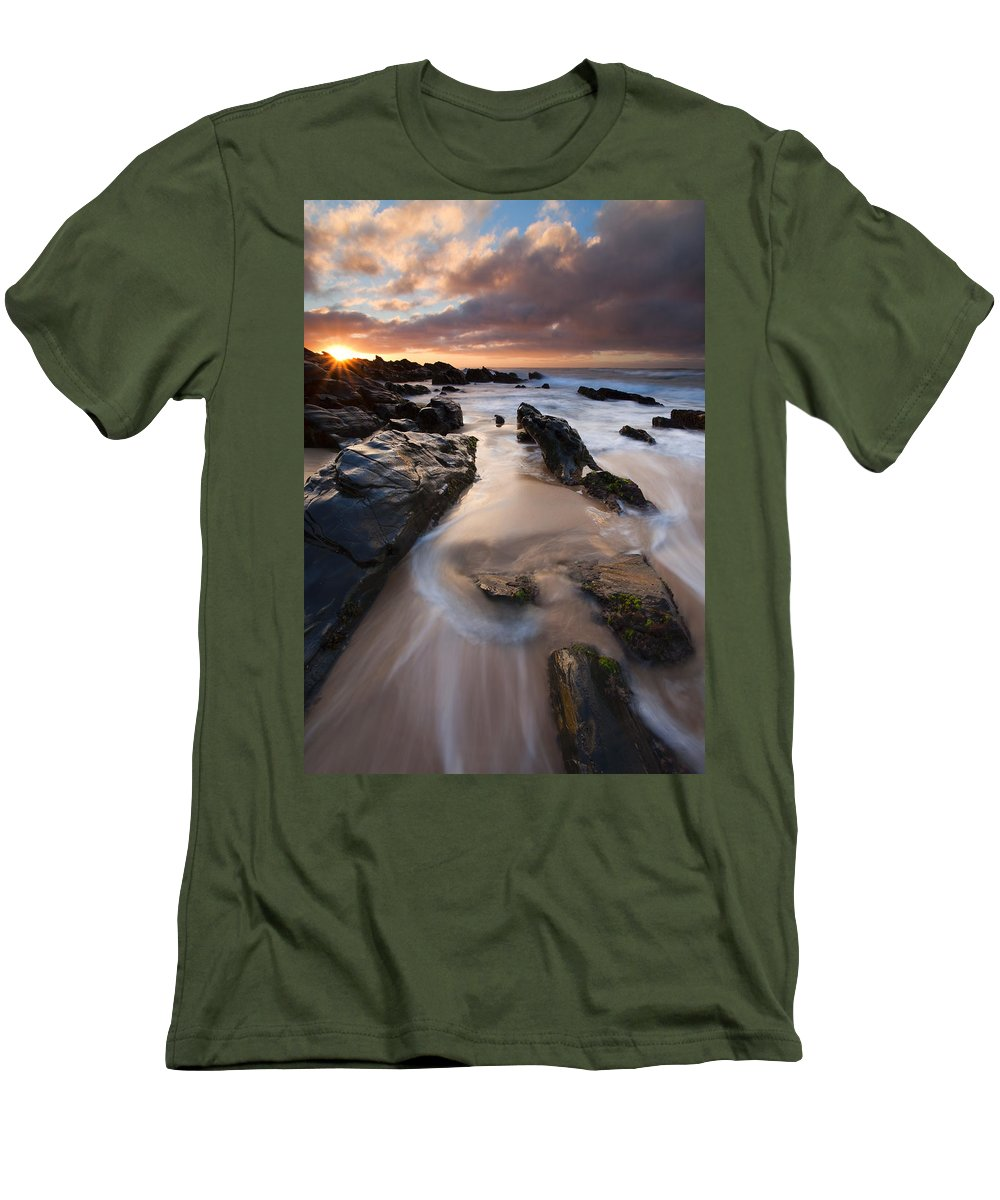 Basham Beach Men's T-Shirt (Athletic Fit) featuring the photograph On The Rocks by Mike Dawson