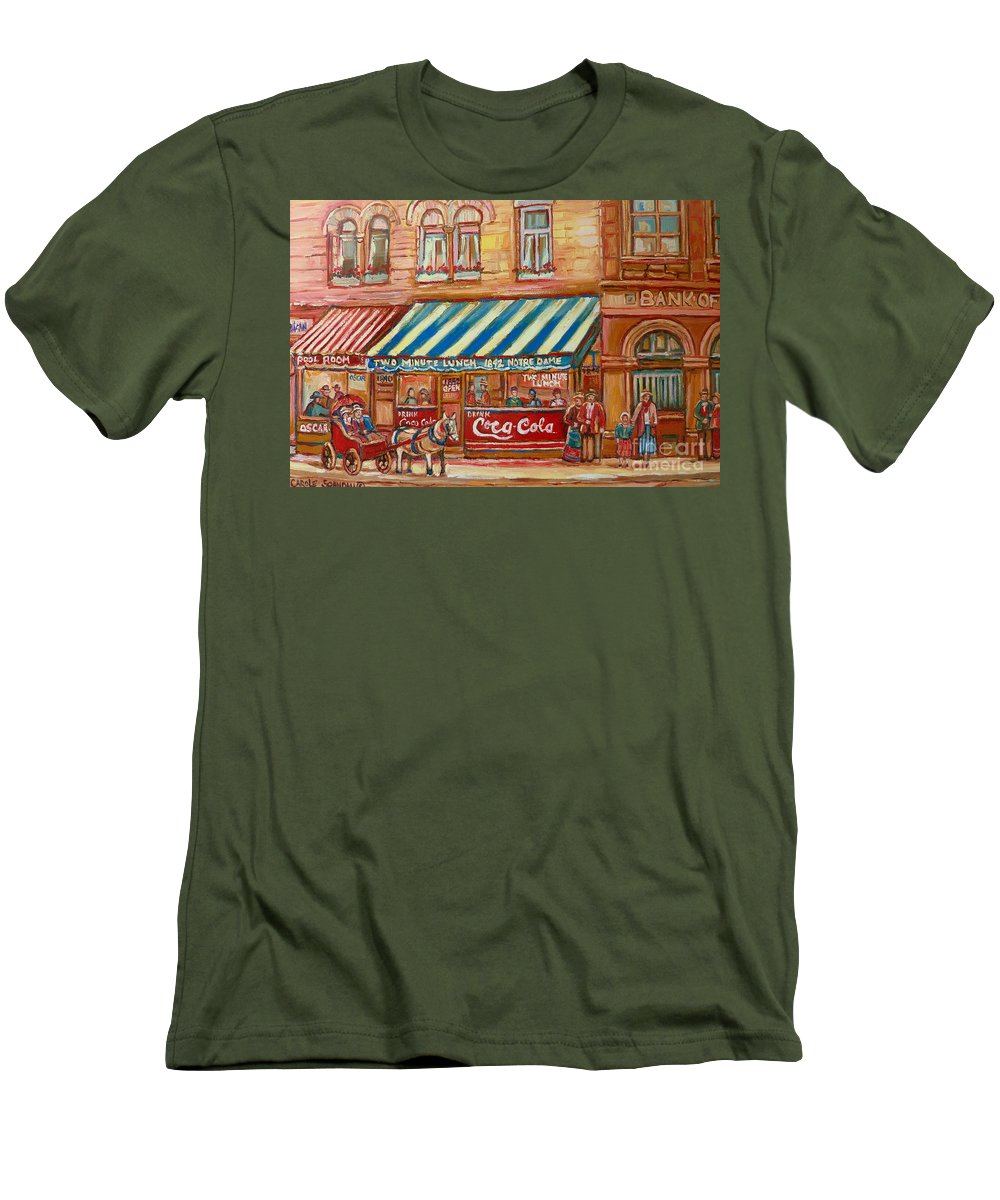 Montreal Scenes Men's T-Shirt (Athletic Fit) featuring the painting Original Bank Notre Dame Street by Carole Spandau