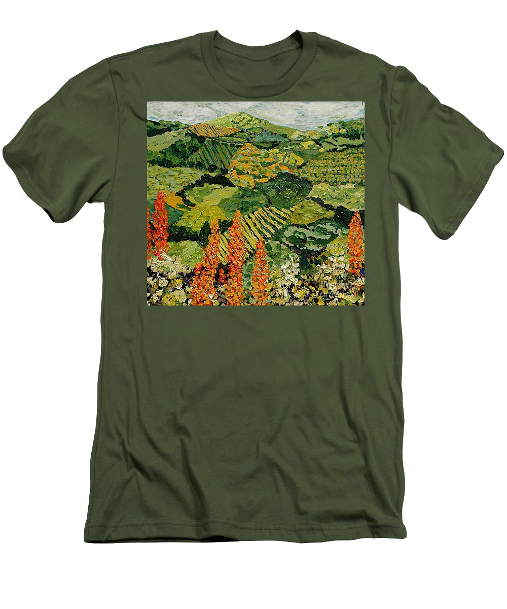 Landscape Men's T-Shirt (Athletic Fit) featuring the painting Overgrown by Allan P Friedlander