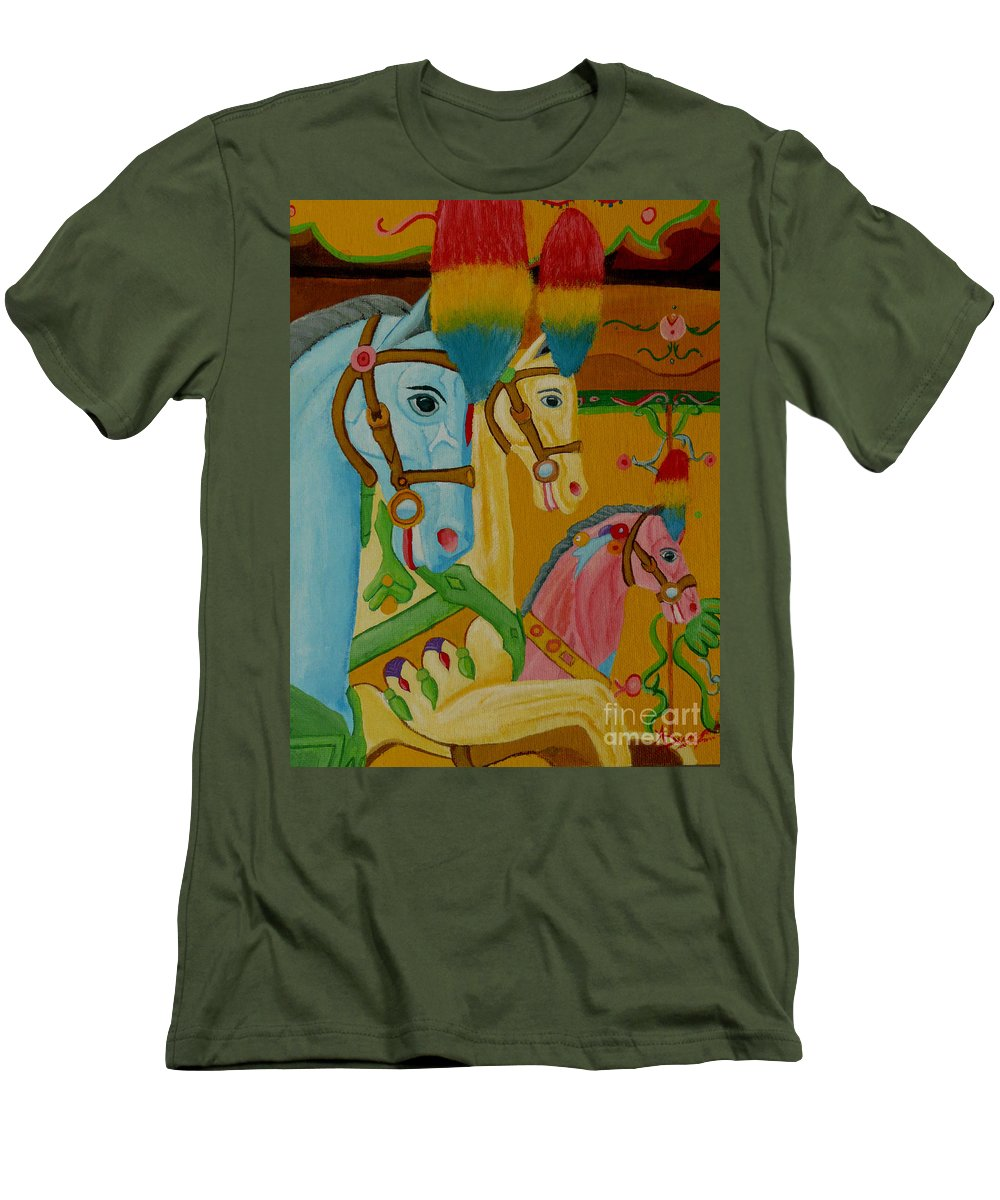 Carousel Men's T-Shirt (Athletic Fit) featuring the painting Painted Ponies by Anthony Dunphy