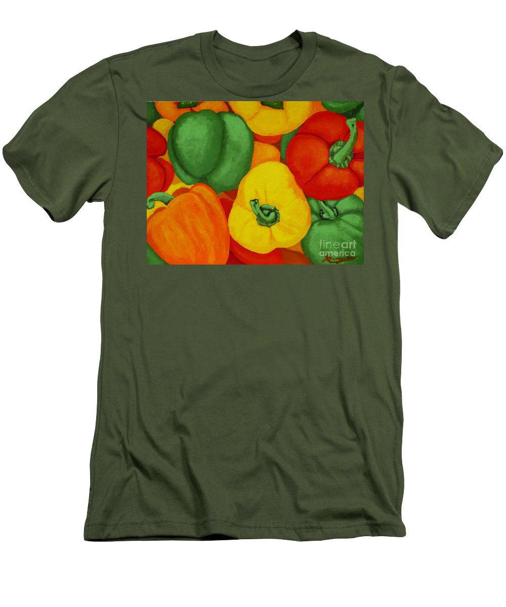 Peppers Men's T-Shirt (Athletic Fit) featuring the painting Peppers by Anthony Dunphy