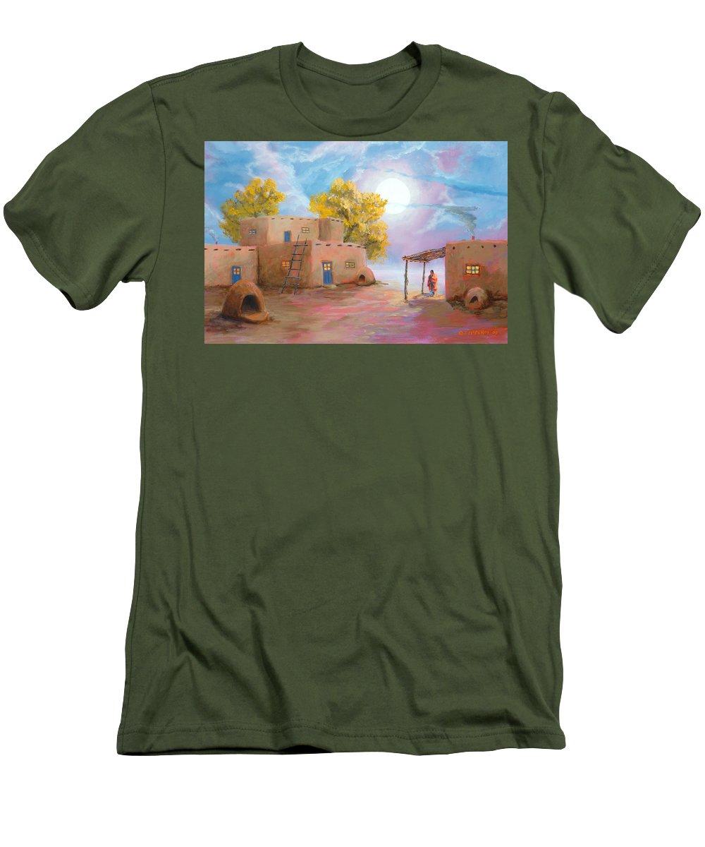 Pueblo Men's T-Shirt (Athletic Fit) featuring the painting Pueblo De Las Lunas by Jerry McElroy