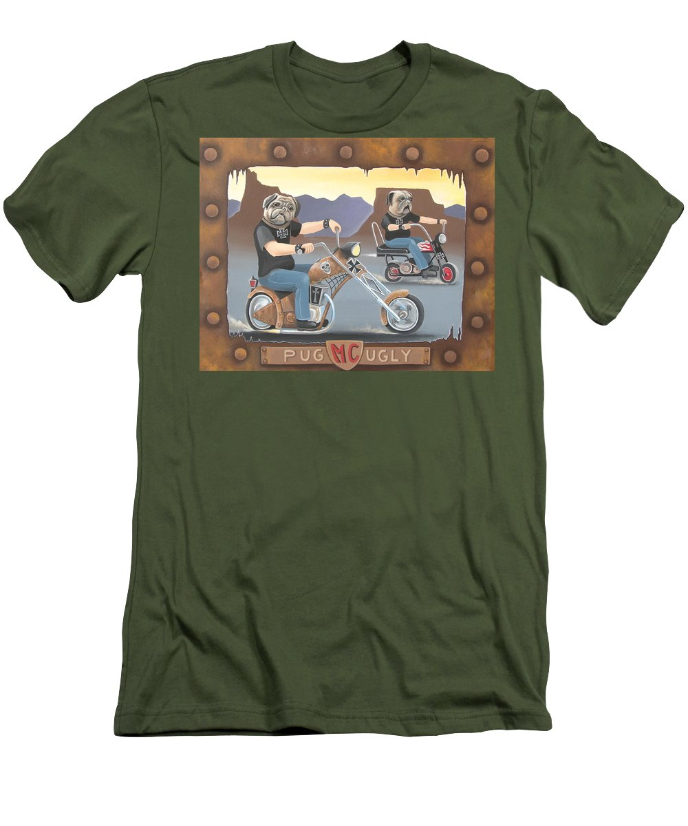 Pug Men's T-Shirt (Athletic Fit) featuring the painting Pug Ugly M.c. by Stuart Swartz