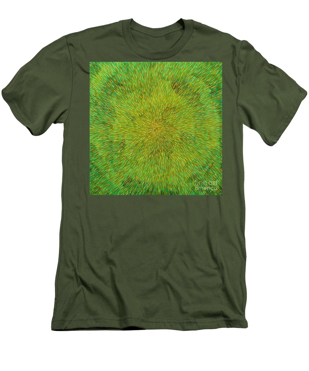 Abstract Men's T-Shirt (Athletic Fit) featuring the painting Radiation With Green Yellow And Orange by Dean Triolo