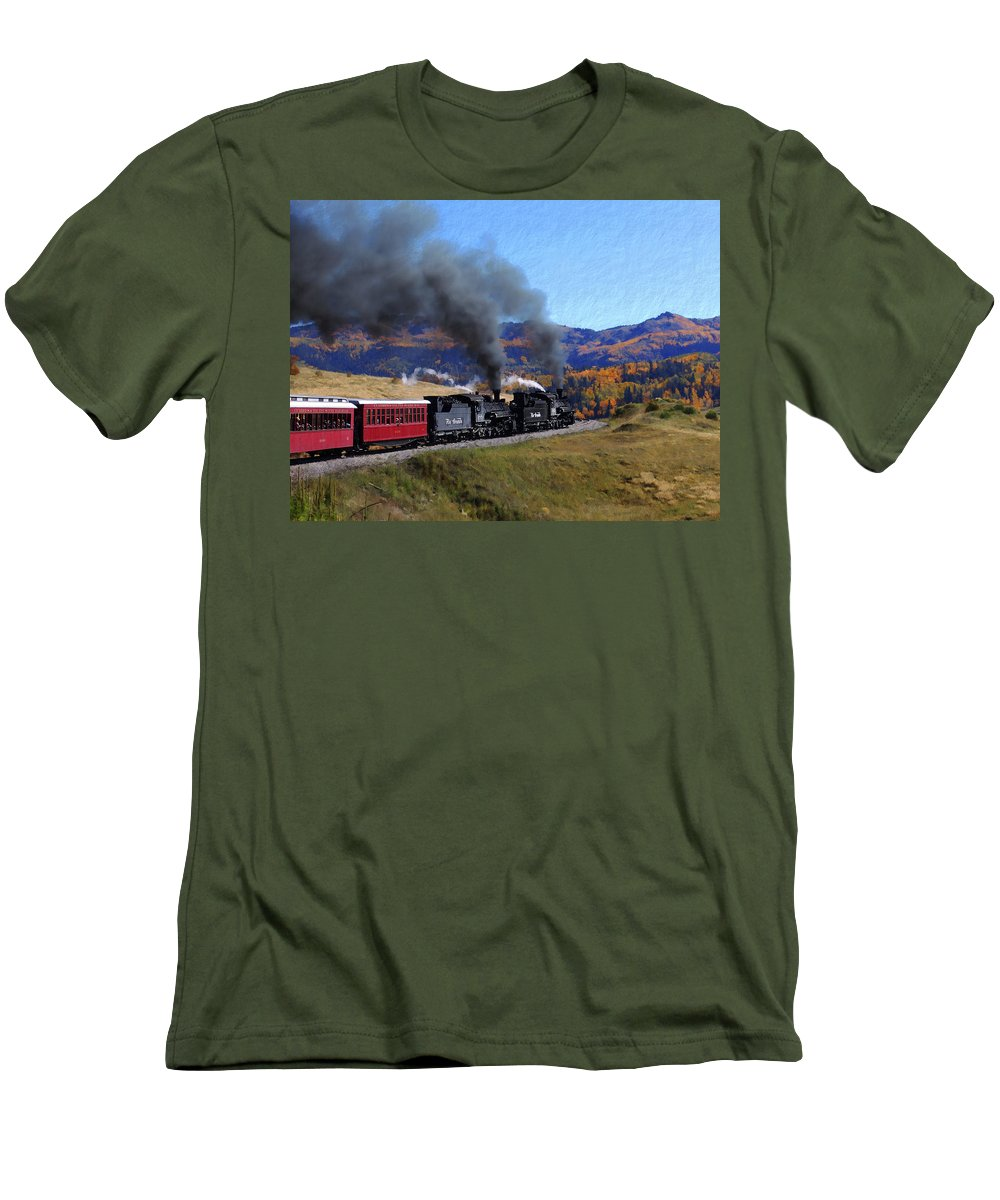 Railroad Men's T-Shirt (Athletic Fit) featuring the photograph Rio Grande 488 And 489 by Kurt Van Wagner